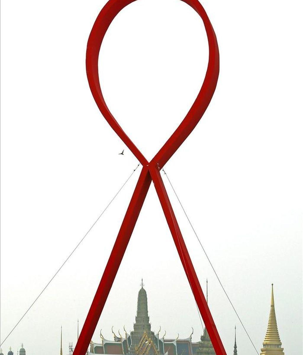 Johnson & Johnson encontró en lotes de su medicamento para el virus del sida Prezista restos de un fungicida. En la imagen, el simbolo de la lucha contra el sida. EFE/Archivo