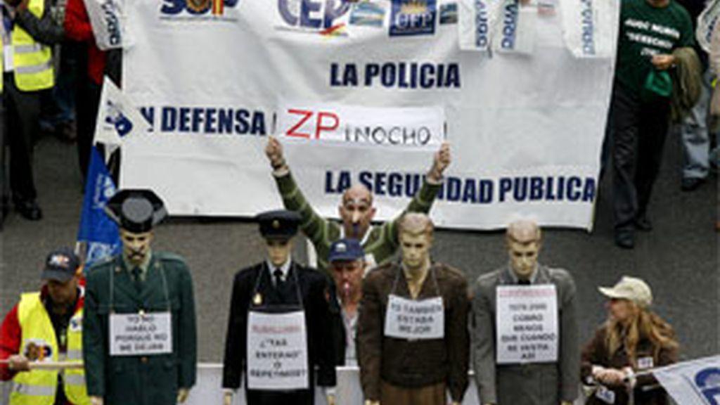 Imagen de archivo de la manifestación de policías y guardias civiles el pasado mes de octubre. Foto:EFE