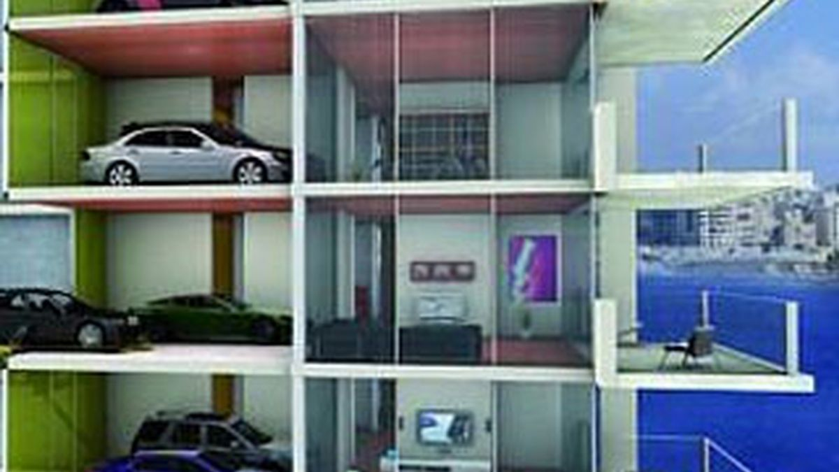 Maqueta del rascacielo donde el coche se aparca dentro de casa, en Singapur.