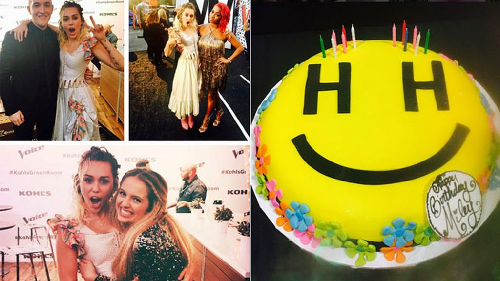 Sus compañero de 'The Voice' le han regalado una tarta 'S-Miley'