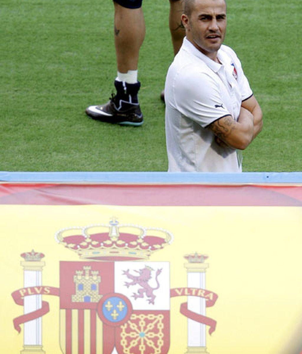 Cannavaro, durante el España-Italia. FOTO: EFE.