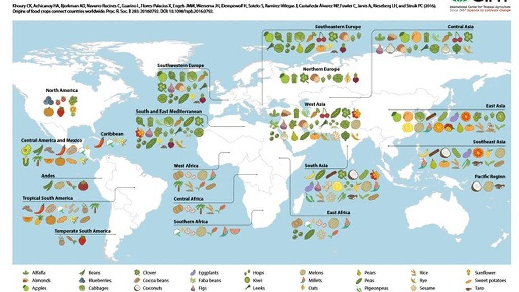 Mapa del origen de los alimentos