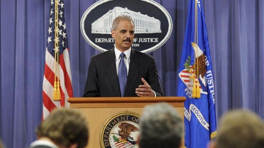 El secretario de Justicia de Estados Unidos, Eric Holder, comparece ante la prensa en el departamento de Justicia de Washington D.C., EE.UU. EFE