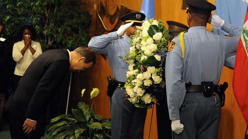 El secretario general de las Naciones Unidas Ban Ki-moon, durante la ceremonia de conmemoración del primer aniversario del terremoto de Haití en la sede de las Naciones Unidas en Nueva York, EE.UU. EFE