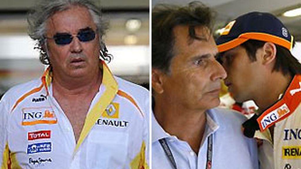 Los Piquet y Briatore, frente a frente. Foto: Archivo.