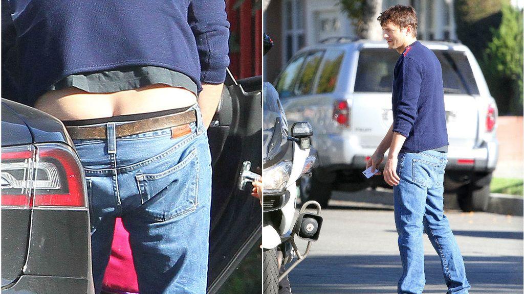 El descuido de Ashton Kutcher con los pantalones