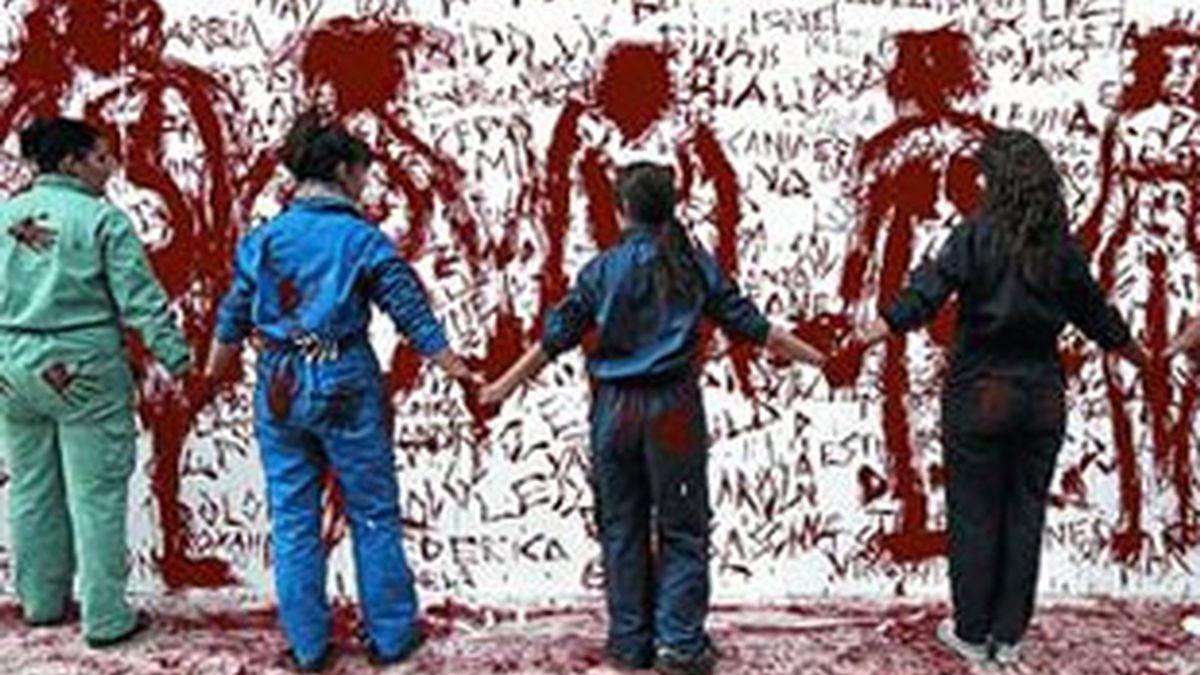 Mural contra la violencia machista en la Universidad Complutense de Madrid. Foto: Archivo EFE