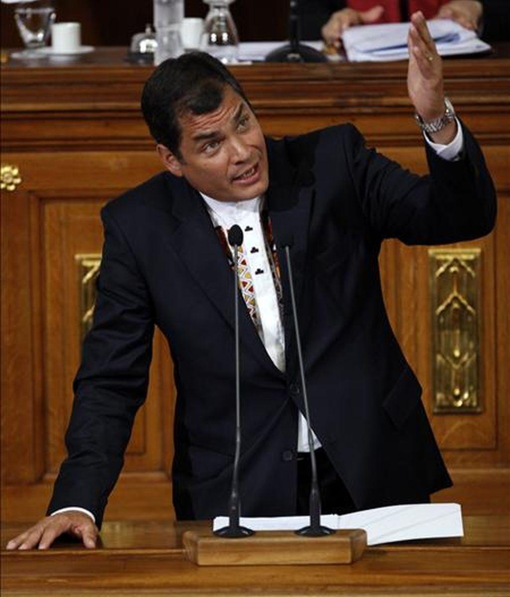 El presidente de Ecuador, Rafael Correa, dijo que como presidente temporal de Unasur interpondrá los mejores oficios para intentar resolver el conflicto colombo-venezolano. EFE/Archivo