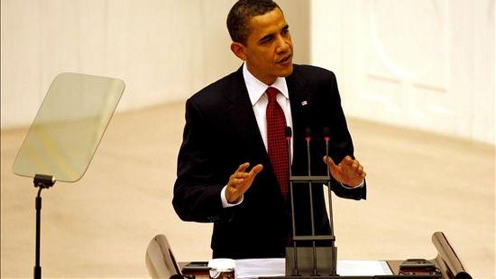El presidente de EEUU, Barack Obama, durante su discurso ante el Parlamento turco. EFE