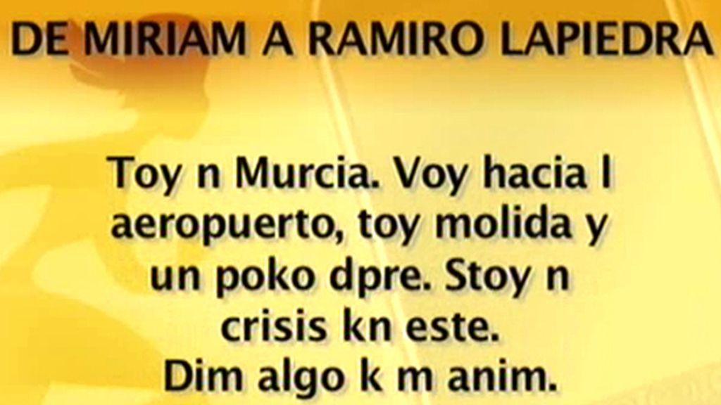 Los mensajes de Míriam Sánchez a Ramiro Lapiedra