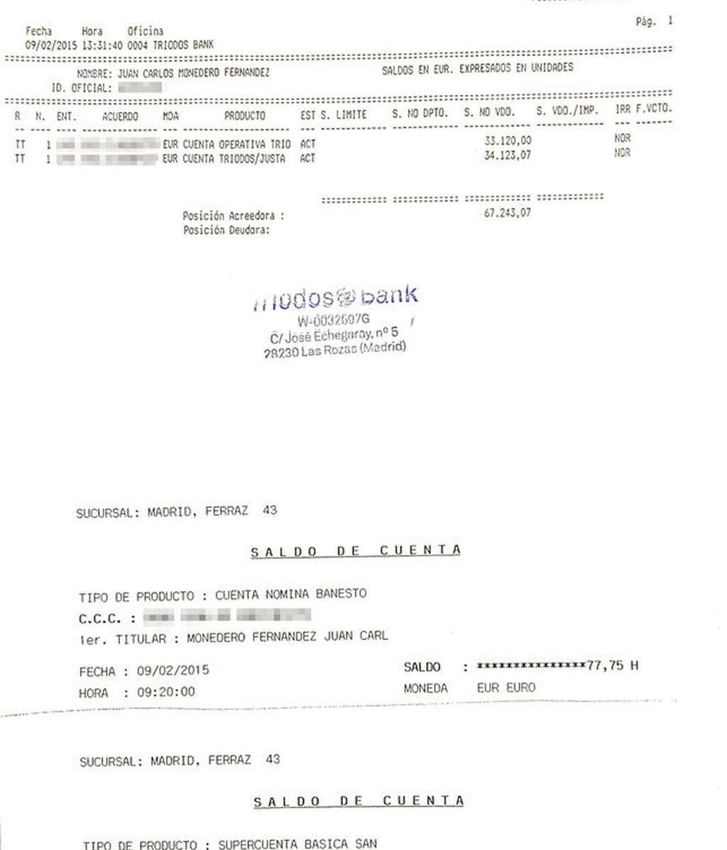 Juan Carlos Monedero hace públicos sus extractos bancarios