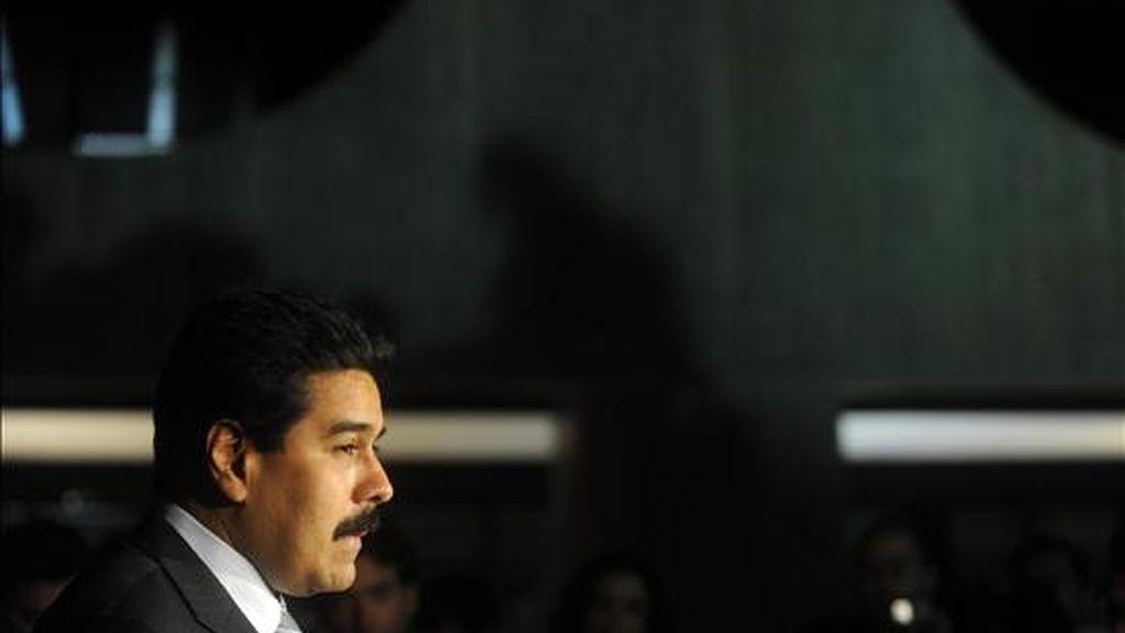 El canciller venezolano, Nicolás Maduro, habla durante una conferencia de prensa en el Centro Cultural Banco do Brasil en Brasilia (Brasil). EFE