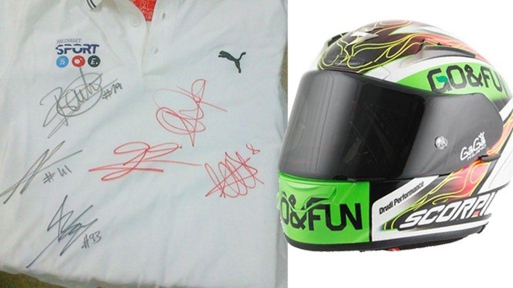 Consigue el Casco firmado por Álvaro Bautista y un polo firmado por los pilotos españoles