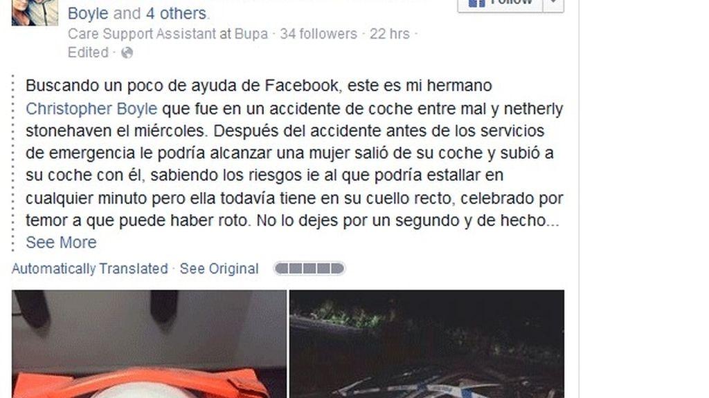 Superviviente de un accidente de coche busca en Facebook a la persona que le salvó la vida