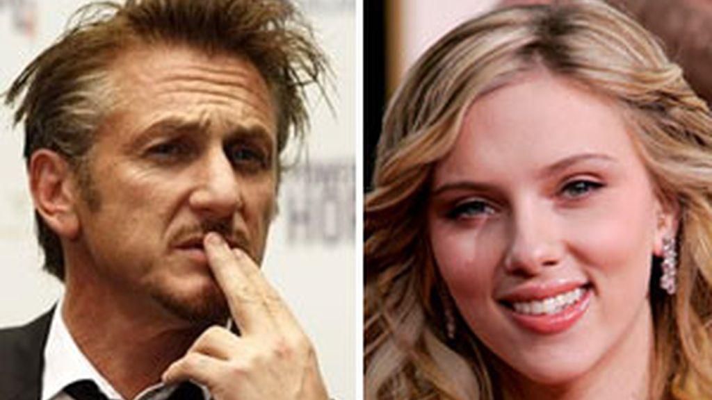 Sean Penn y Scarlet Johansson. Foto: AP.