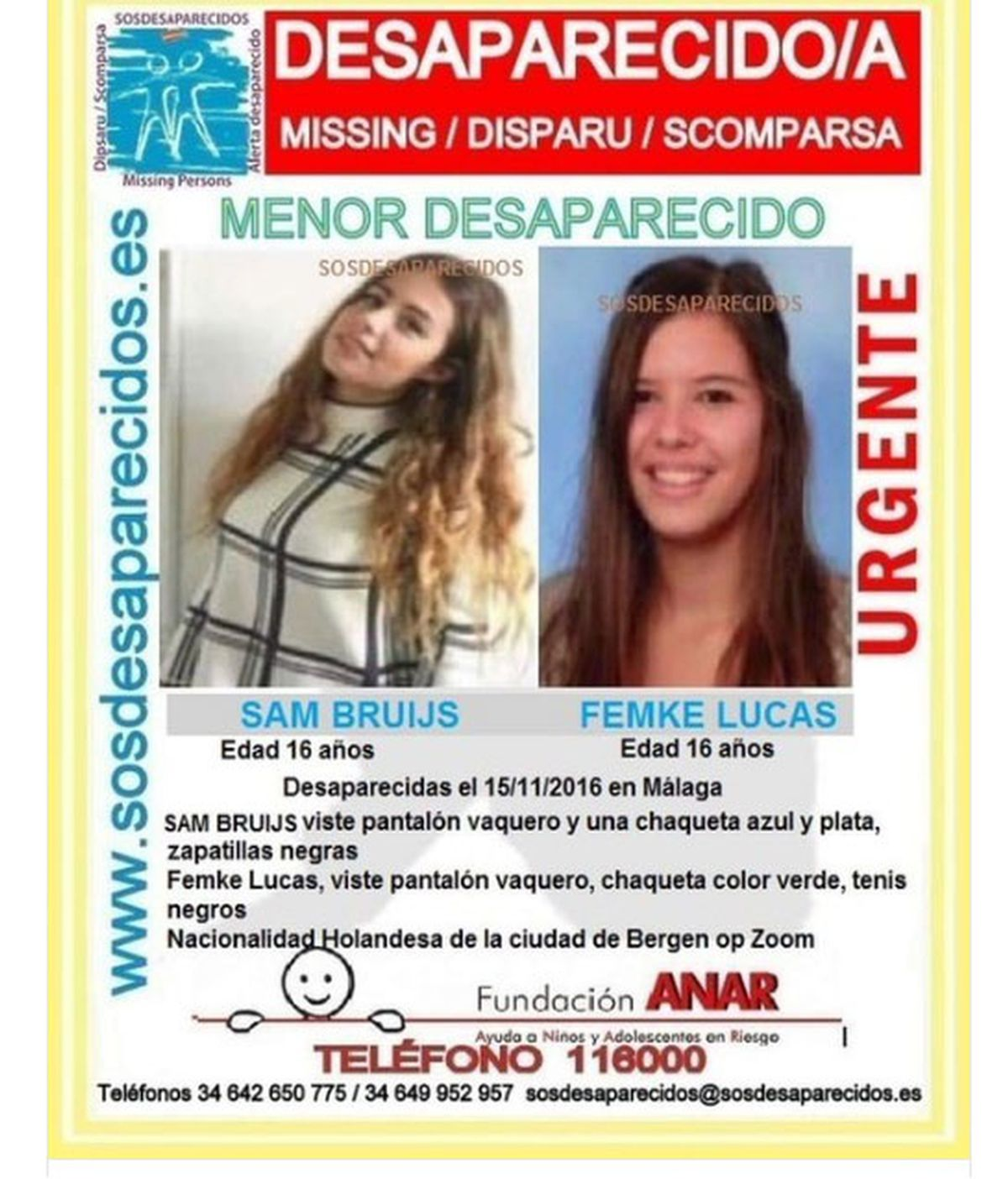 Sam Bruijis y Femke Lucas, holandesas desaparecidas Málaga