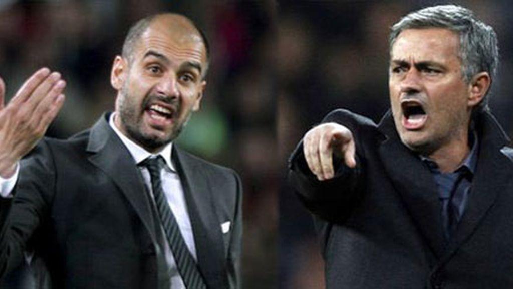 Pep y Mou. Mou y Pep. Los mejores entrenadores del mundo frente a frente en la final de la Copa del Rey. Foto: EFE
