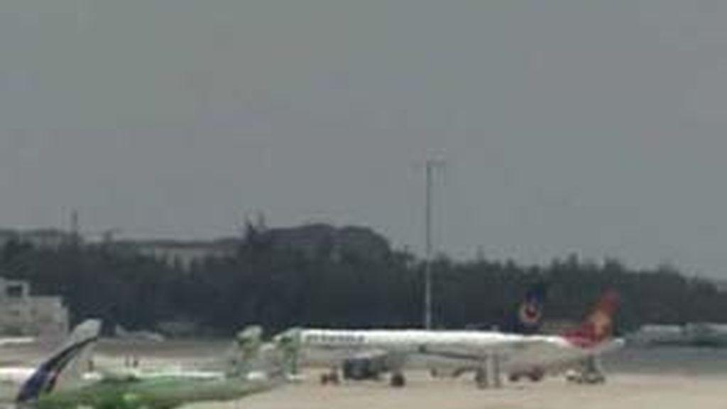 Imagen del Airbus tras el aterrizaje de emergencias