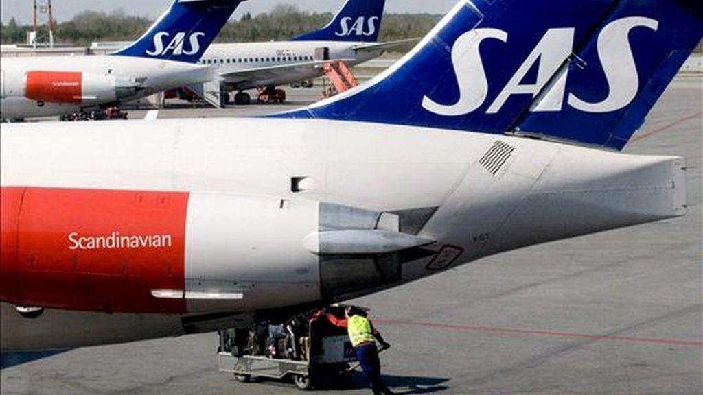 En la imagen de 2008, un avión de Scandinavian Airlines en el aeropuerto de Estocolmo, Alemania. EFE/Archivo