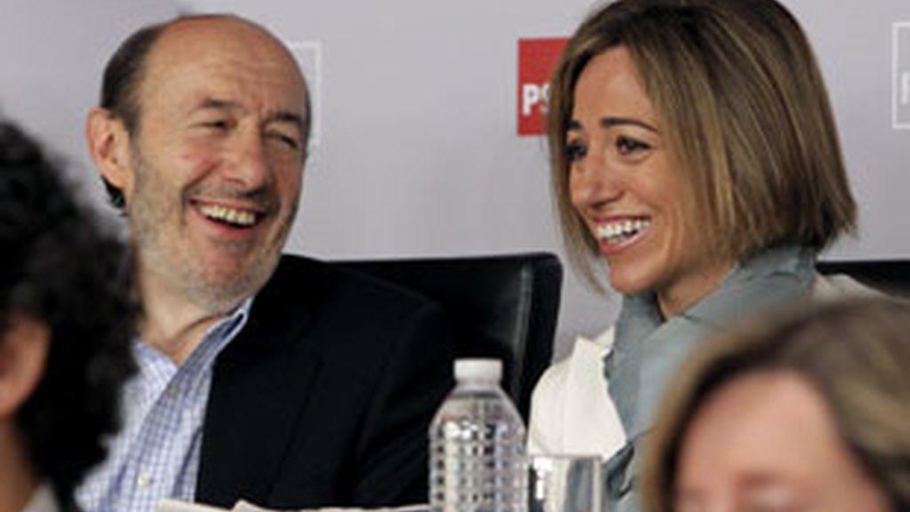 Rubalcaba y Chacón durante el Comité Federal del PSOE del pasado sábado. Foto: EFE.