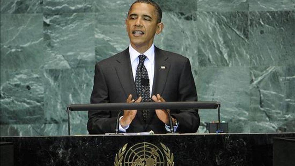 El presidente de Estados Unidos, Barack Obama habla este miércoles en la cumbre de la ONU en Nueva York (EEUU) durante la cual se revisaron los Objetivos de Desarrollo del Milenio. EFE