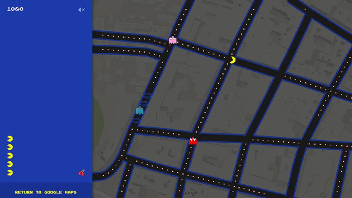 pac man, google maps