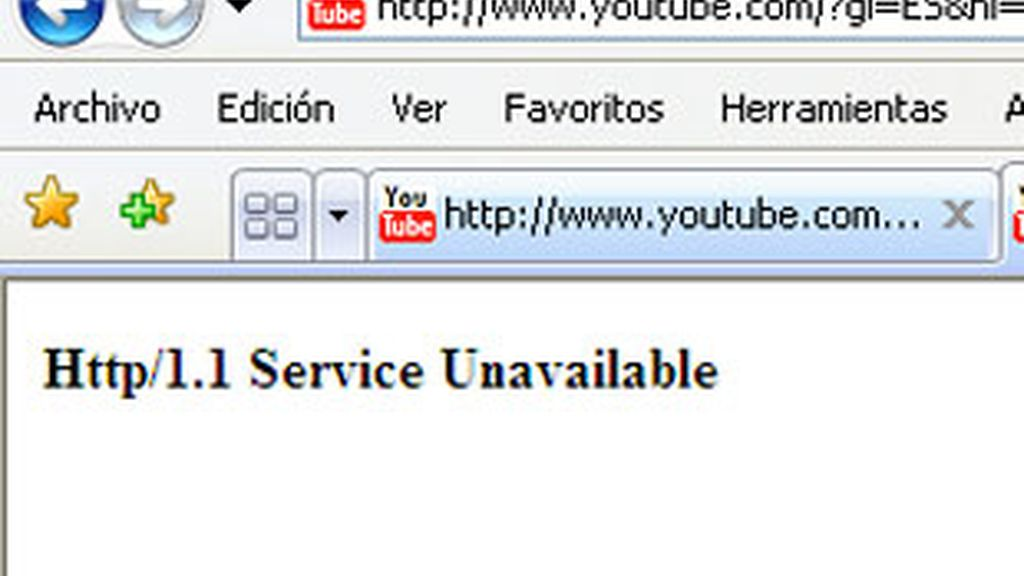 El error que aparece al intentar entrar el Youtube.