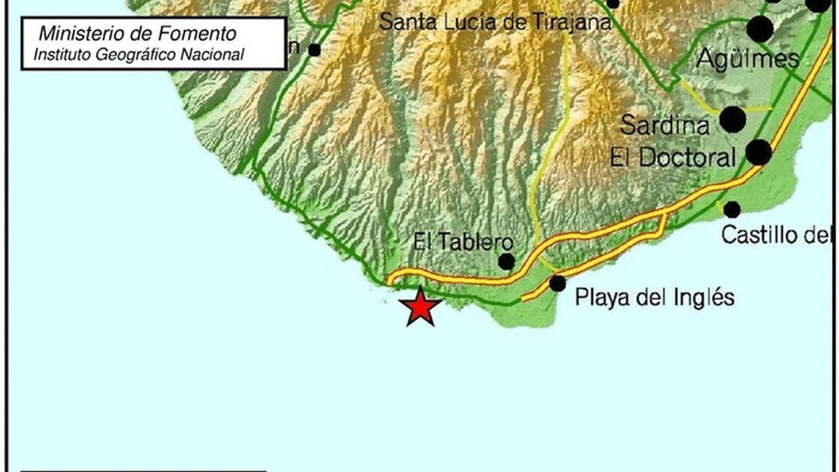 Lugar donde se ha resgistrado el terremoto durante la pasada madrugada en Gran Canaria