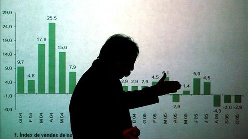 Una gráfica con el balance de la Caixa Catalunya en una reunión de la junta directiva. EFE/Archivo