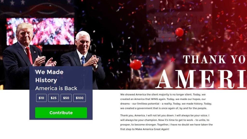 Página de campaña de Donald Trump