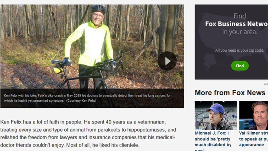 El brutal accidente en bicicleta que casi le mata le salvó paradójicamente la vida