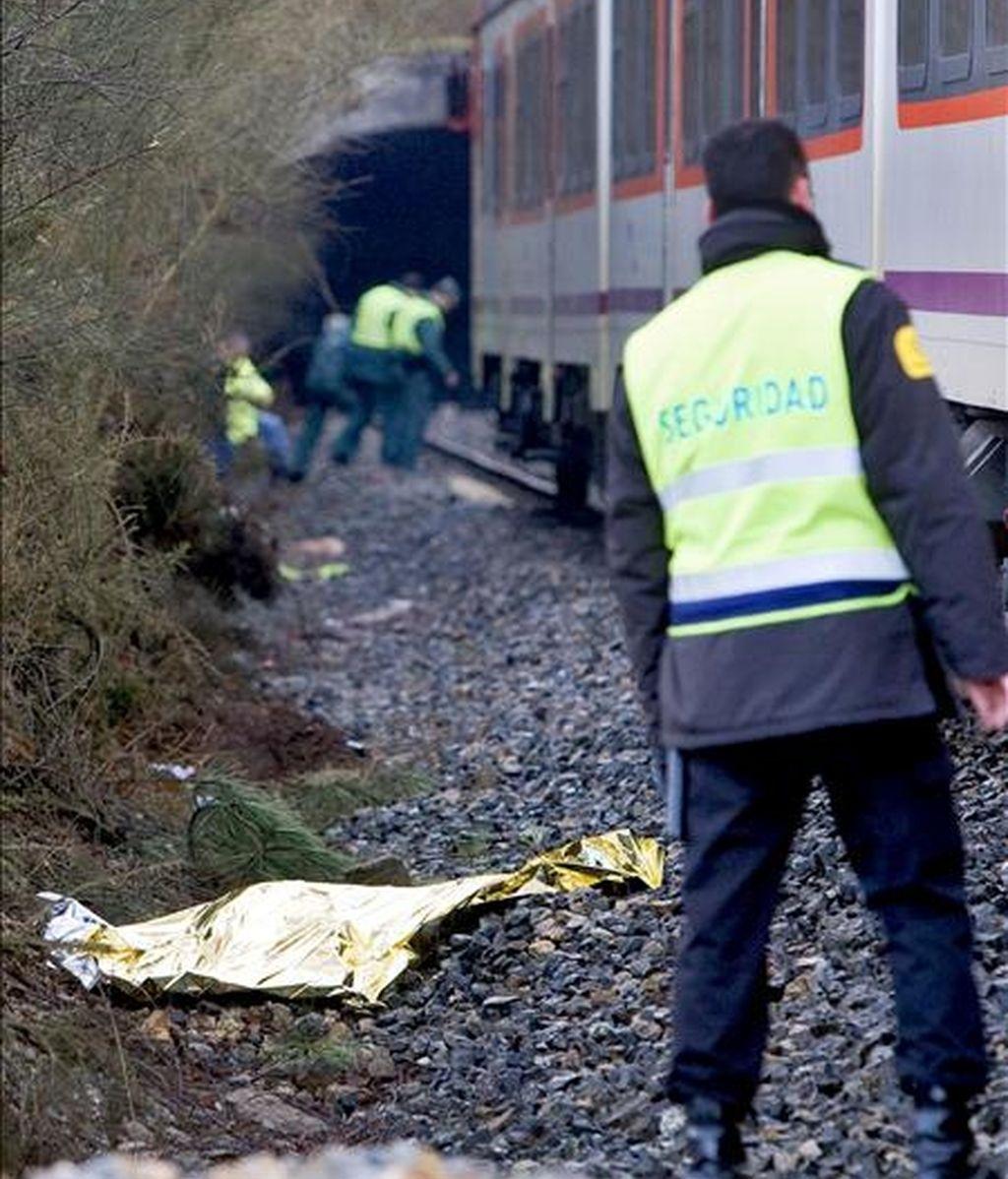 Un guardia jurado observa el cuerpo sin vida de una persona que ha muerto esta mañana al ser arrollada por un tren en la vía férrea que discurre entre A Coruña y Vigo, a su paso por la localidad coruñesa de Cerceda. EFE