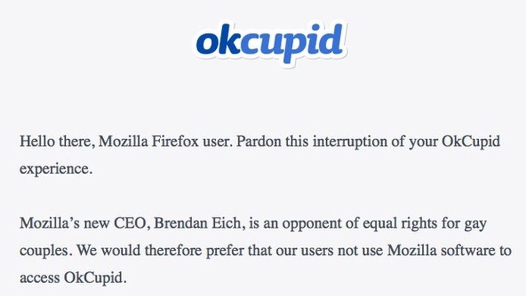 Mensaje de OkCupid para los usuarios de Mozilla Firefox