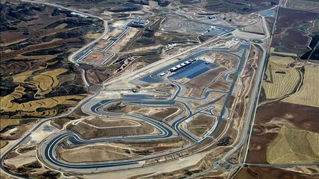 Vista aérea del circuito Motorland Aragón, en Alcañiz (Teruel), donde el próximo 19 de septiembre se disputará el Gran Premio de Aragón, en sustitución del GP de Hungría que no puede completar a tiempo el circuito de Balatón. EFE