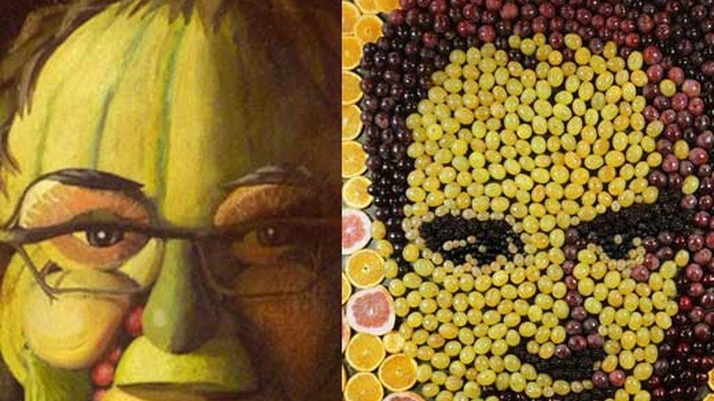 Las caras de Ferrá Adriá y Juan Mari Arzah recreadas con frutas en Madrid Fusion. Un homenaje a dos grandes de los fogones.