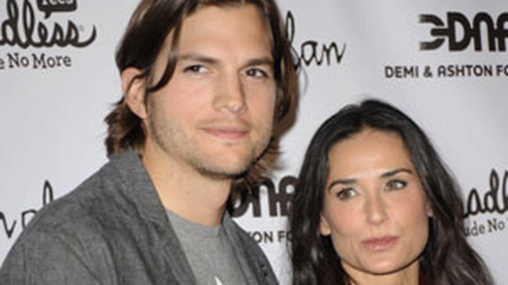 Ashton Kutcher y Demi Moore, en una imagen de archivo en la que se les ve juntos. Foto: Gtres