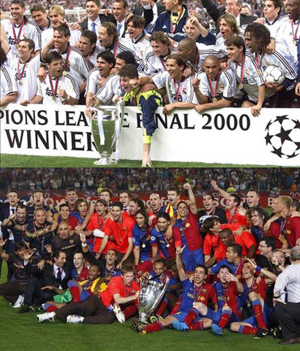 Real Madrid y Barça se verán las caras por séptima y octava vez en Europa esta temporada. Fotos: EFE