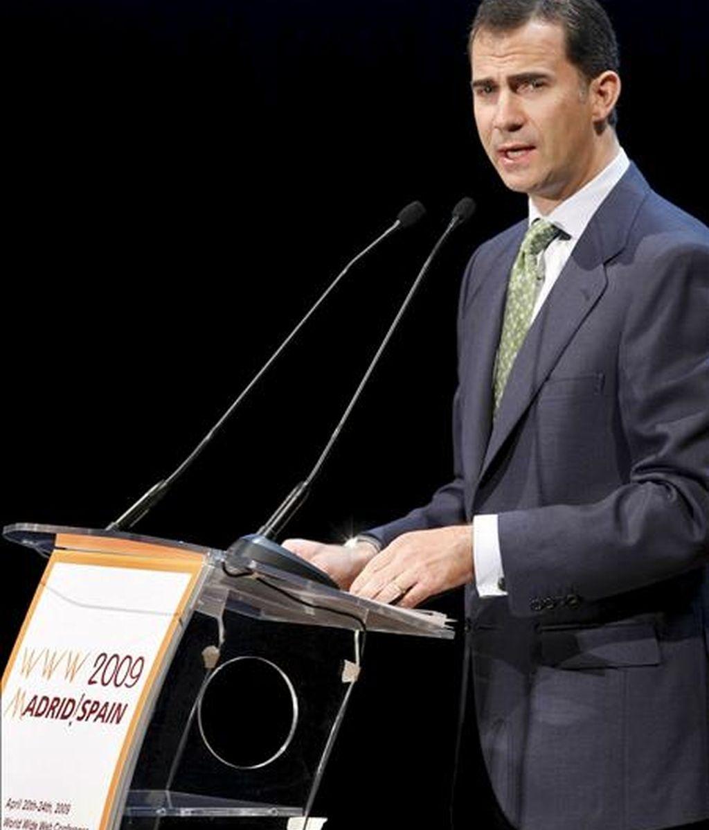 El príncipe Felipe, durante su intervención en el acto de apertura oficial del Congreso Mundial de la Web (WWW2009), organizado por el International World Wide Web Conferences Steering Committee (IW3C2) y la Universidad Politécnica de Madrid. EFE