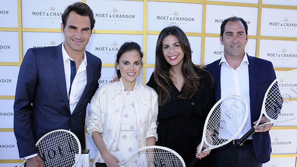 Roger Federer, Elena Anaya, Nuria Roca y Albert Costa