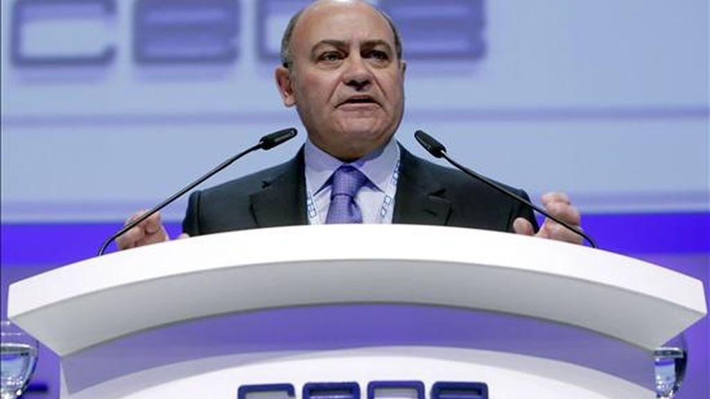 El presidente de la patronal de empresarios, Gerardo Díaz Ferrán, durante su intervención en la Asamblea Electoral de la CEOE celebrada hoy en Madrid. EFE