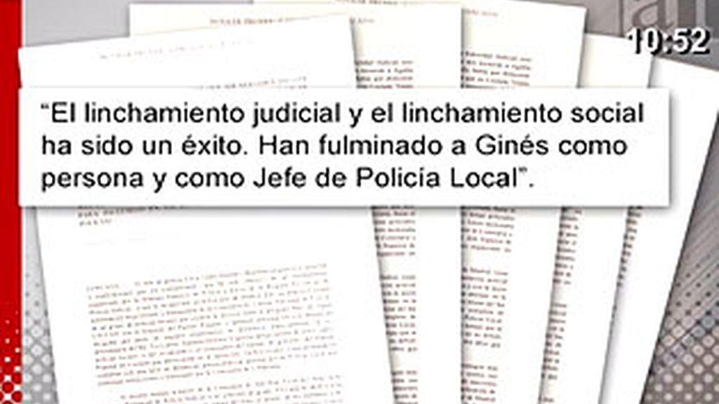 El comunicado redactado por el abogado de Ginés