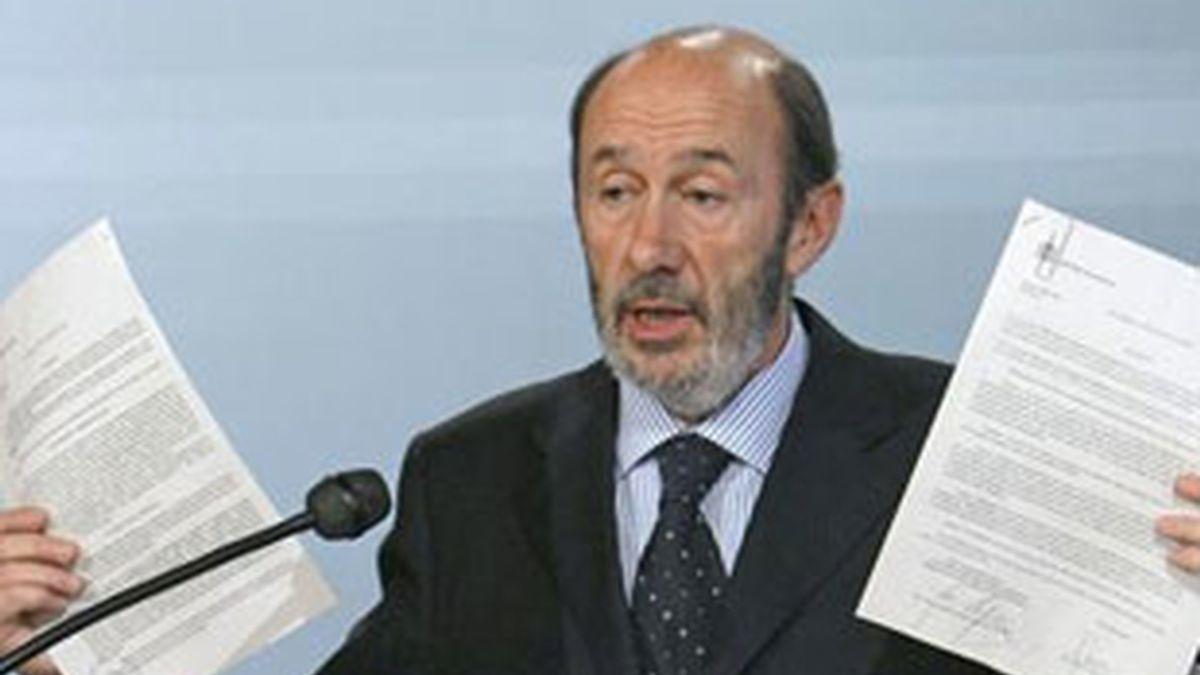Imagen de archivo del ministro del Interior, Alfredo Pérez Rubalcaba. Foto: EFE.