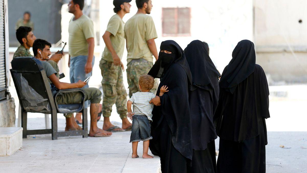 Mujeres sirias con niqab