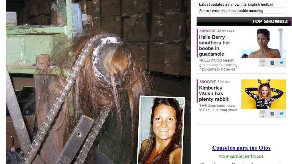 A punto de morir cuando su pelo se enganchó en una máquina industrial
