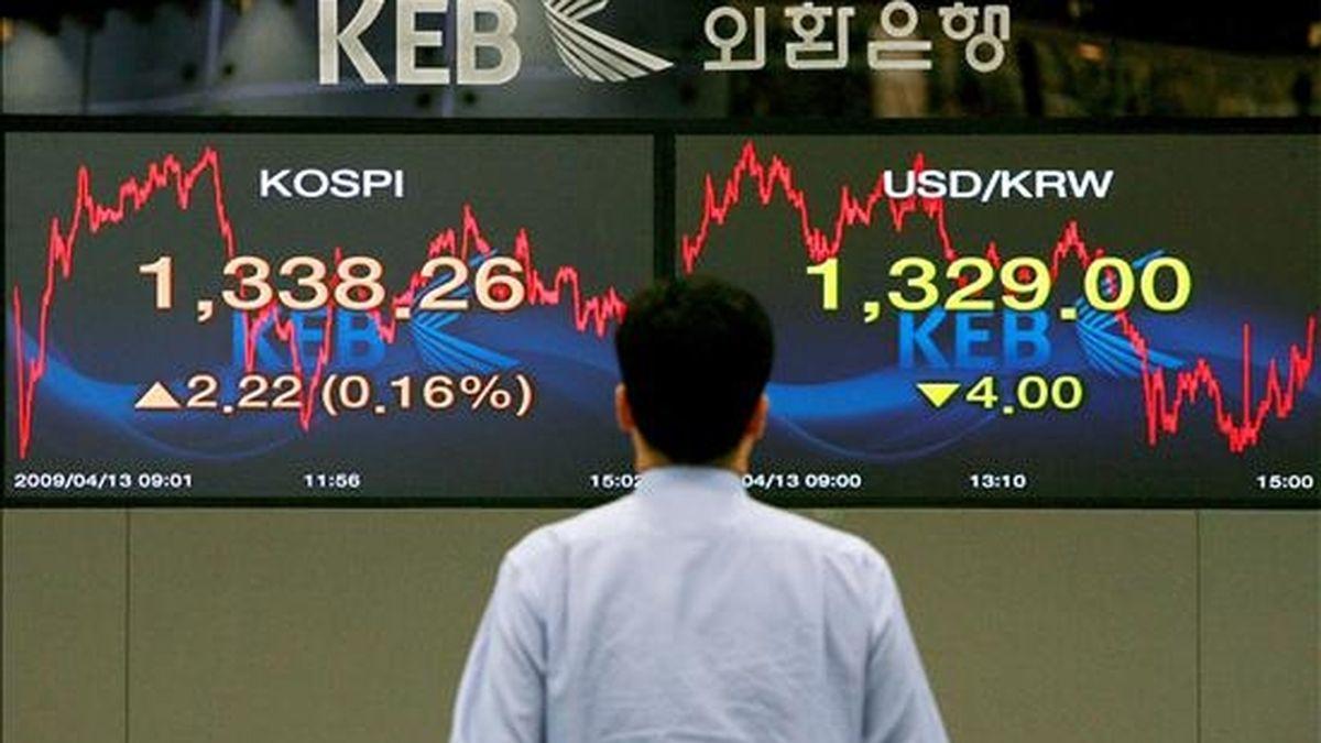 Un empleado de banco observa un panel con las divisas y la cotización de la bolsa en Seúl. EFE/Archivo