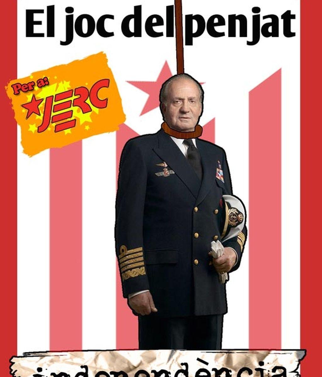 """Una de las postales muestra a Don Juan Carlos como protagonista del """"Juego del ahorcado"""" Foto: JERC"""