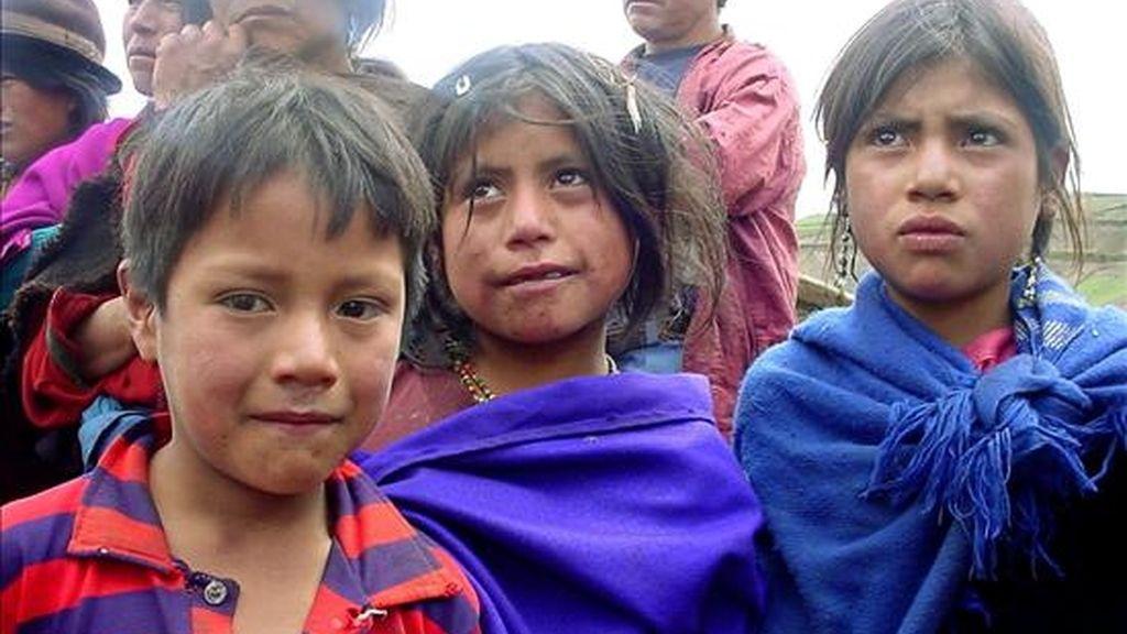 Niños indígenas trabajadores de Santa Rosa de Pisiñag, a 30 kilómetros de Riobamba (Ecuador). EFE/Archivo