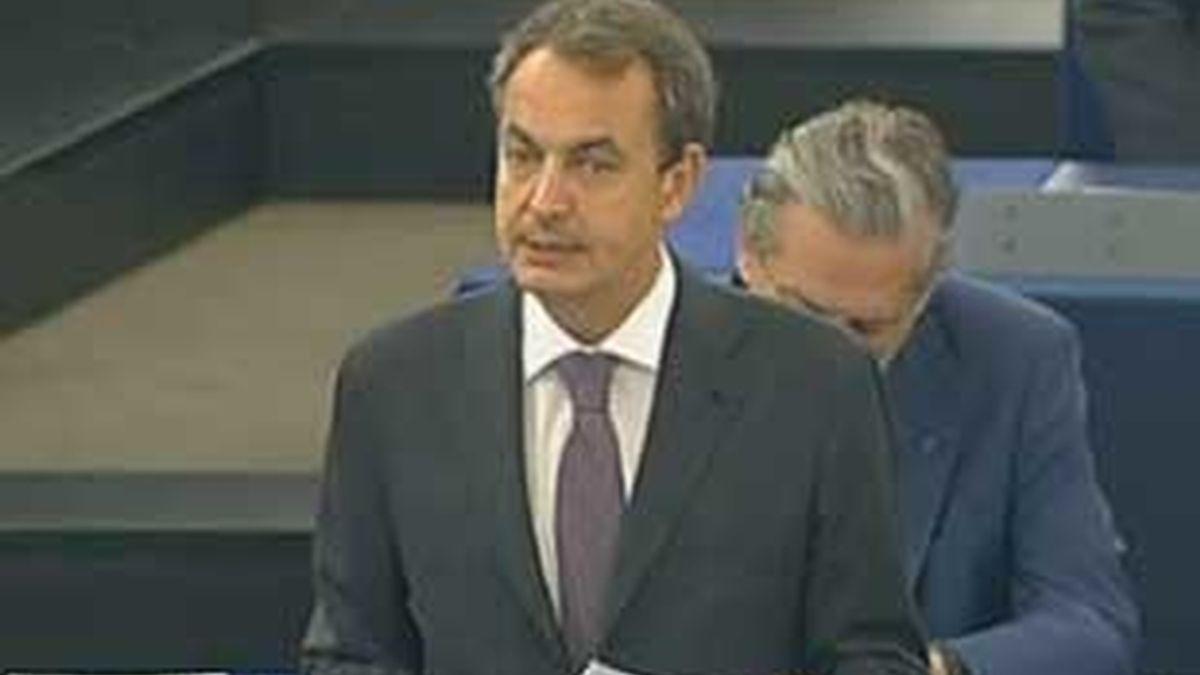 Zapatero durante su comparecencia ante el Parlamento Europeo. Vídeo: ATLAS.