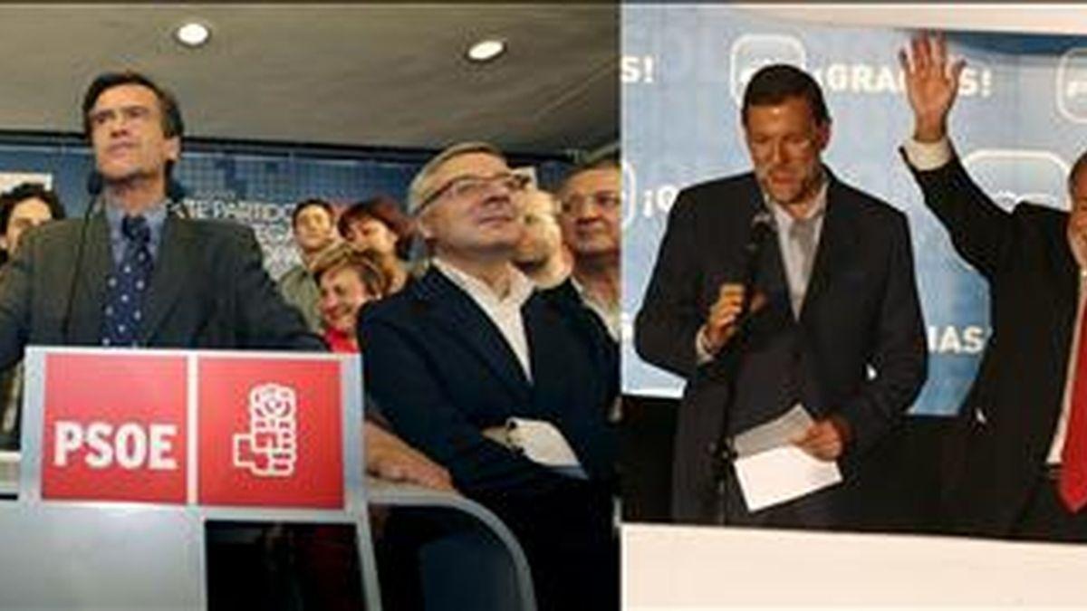 El cabeza de lista del PSOE a las elecciones europeas, Juan Fernando López Aguilar (i), y el del PP, Jaime Mayor Oreja (d). EFE