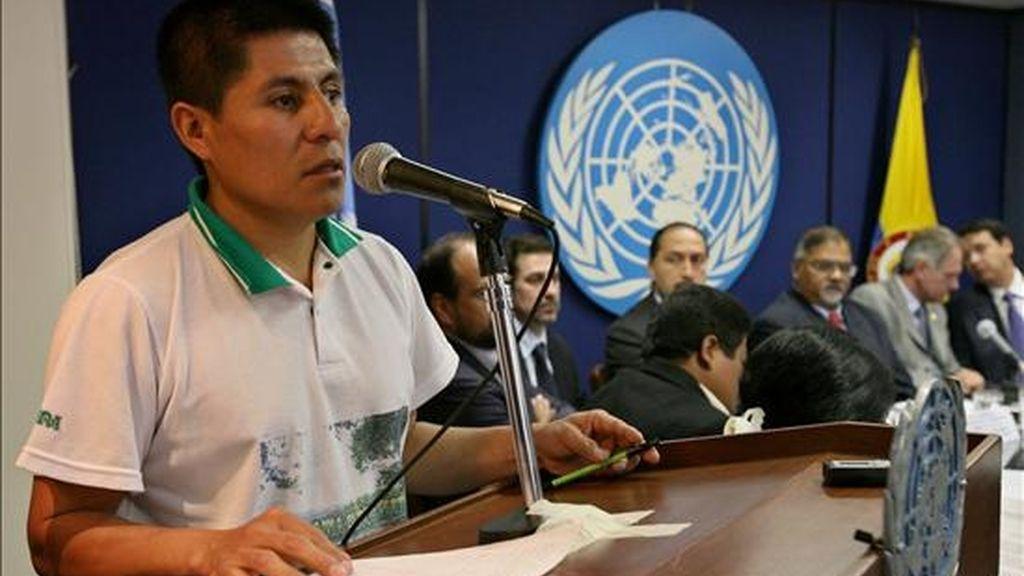 En la imagen José Libardo Pai Nastacuás, representante de la Unidad Indígena del Pueblo Awá (UNIPA). EFE/Archivo